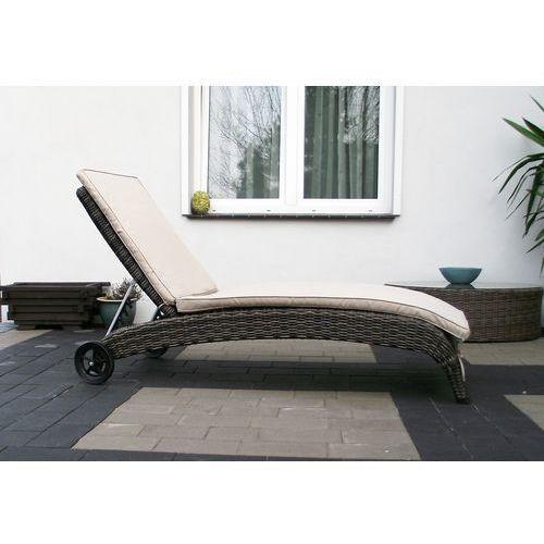 YORK leżak ogrodowy basenowy leżanka z technorattanu z materacem i zagłówkiem meble ogrodowe NR117 - produkt dostępny w 1001mebli.pl Sklep Meblowy