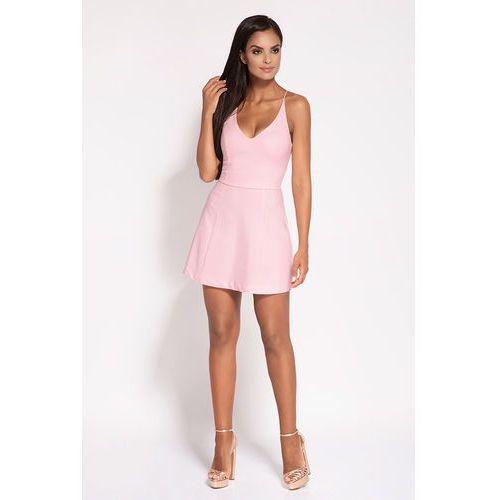 5e64459891 Różowa rozkloszowana sukienka z głębokim dekoltem