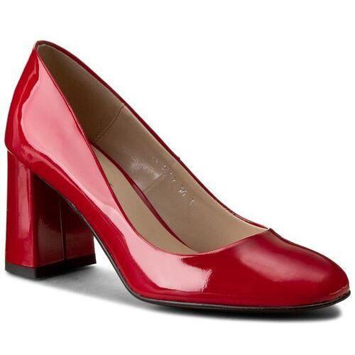Półbuty SAGAN - 2827 Czerwony Lakier, kolor czerwony