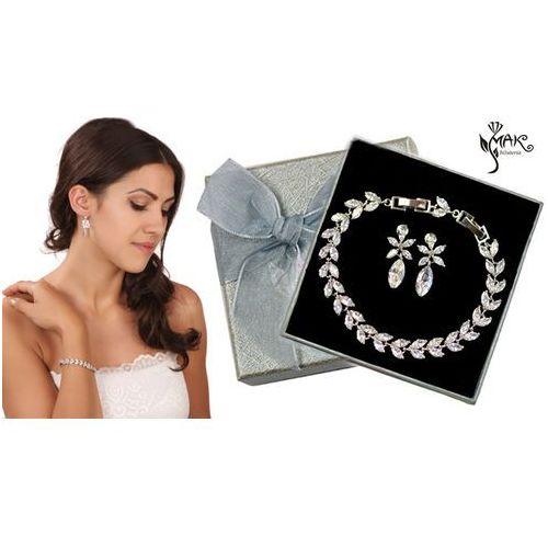 Kpl878 komplet ślubny, biżuteria ślubna z cyrkoniami b599/424 k599/562 marki Mak-biżuteria