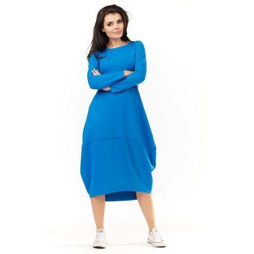 26fcfac31b Niebieska Dzianinowa Midi Sukienka Bombka z Długim Rękawem