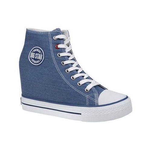Trampki BIG STAR U274901 Niebieskie na koturnie - Niebieski ||Biały (5901437611416)
