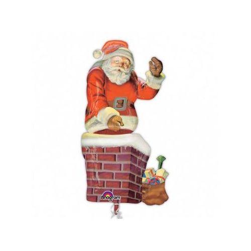 Balon foliowy Mikołaj z komina - 73x134 cm - 1 szt.