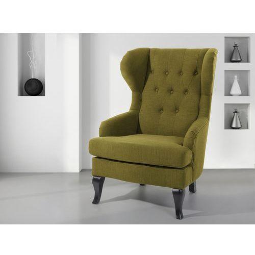 Fotel oliwkowy - tapicerowany - pikowany - do salonu - ALTA (7081459082819)