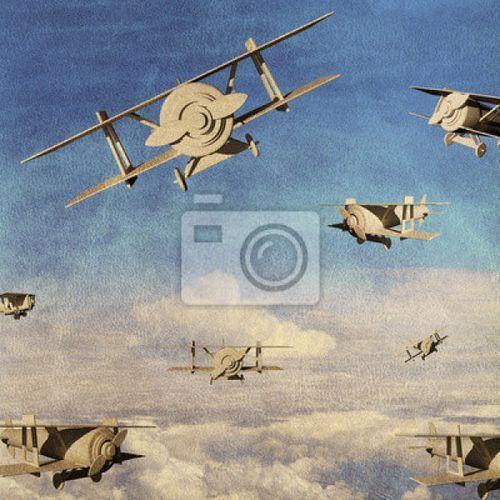 Fototapeta dla dzieci Samoloty na niebie (fototapeta) od Kiddyfave.pl