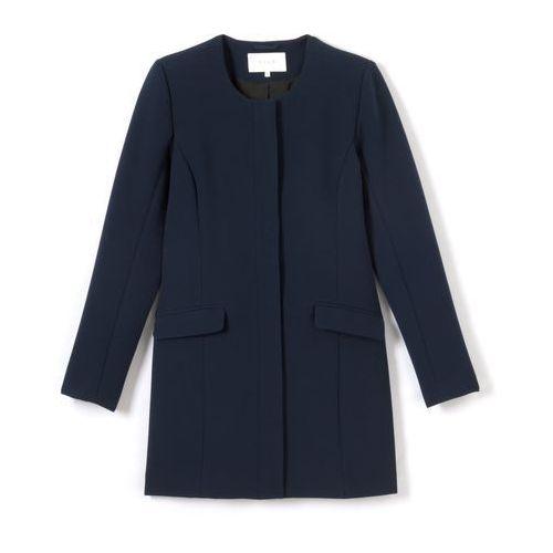 Płaszcz o prostym kroju, zapinany na guziczki, kolor niebieski