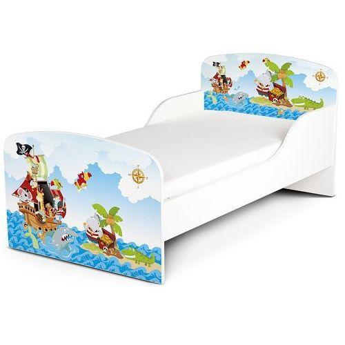 Białe łóżko dla dzieci z materacem. Piraci - oferta [950ed0a31f637422]