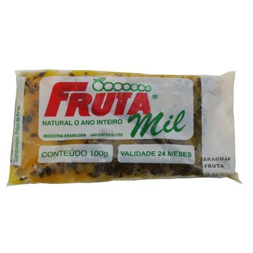 Marakuja - passiflora - męczennica cały owoc puree owocowe z pestkami (miąższ, pulpa, sok z miąższem) bez cukru marki Frutamil comércio de frutas e sucos ltda