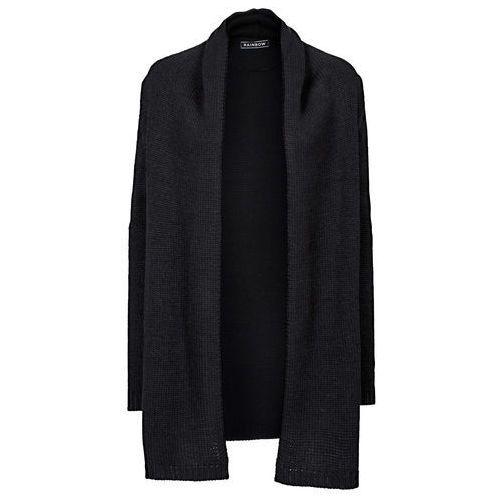Bonprix Długi sweter bez zapięcia czarny