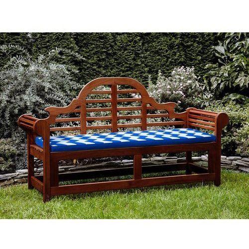 Ławka ogrodowa drewniana 180 cm poducha w niebiesko-białe zygzaki TOSCANA Marlboro