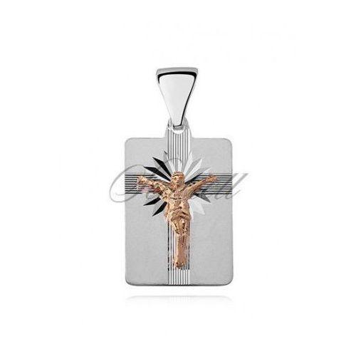 Srebrny diamentowany medalik pr.925 Jezus na krzyżu, pozłacany - MD471Gb