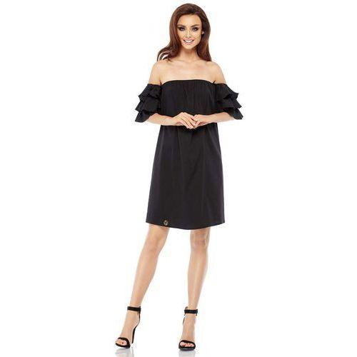 035aa4f767 Czarna Letnia Sukienka Trapezowa z Dekoltem Carmen
