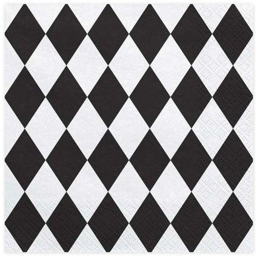 Twojestroje.pl Serwetki w romby biało-czarne 20szt (5902230750791)