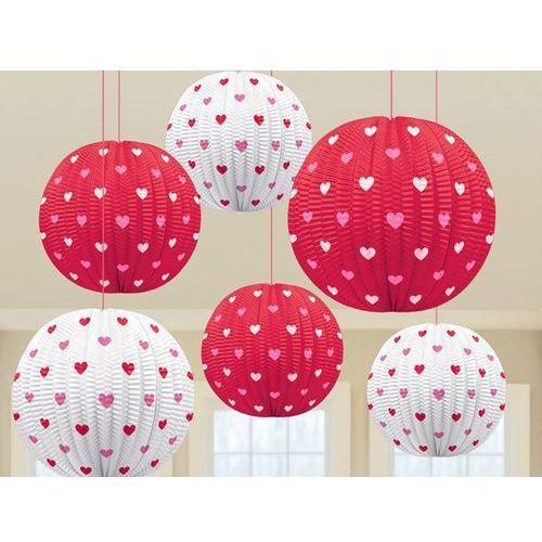 Lampiony czerwone z sercami na walentynki - 5 szt. marki Amscan