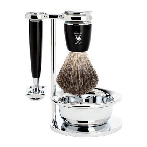 Zestaw do golenia MÜHLE Rytmo S81M226SSR: pędzel do golenia z włosia borsuka, maszynka na żyletki, stojak i miseczka