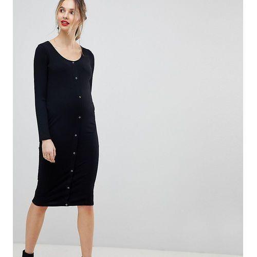 Asos design maternity midi long sleeve bodycon dress with popper front - black, Asos maternity
