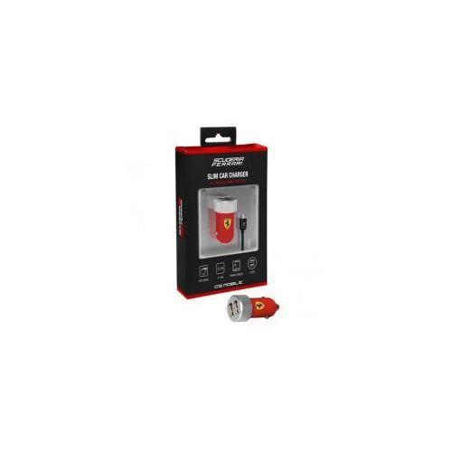 Ferrari scuderia ładowarka samochodowa 2.1a 2xusb + kabel micro usb (czerwony) (3700740319543)