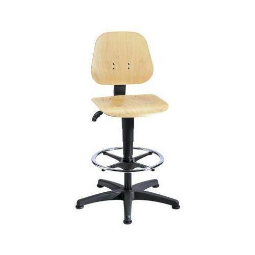 Bimos Obrotowe krzesło do pracy z regulacją wysokości sprężyną gazową, sklejka bukowa,