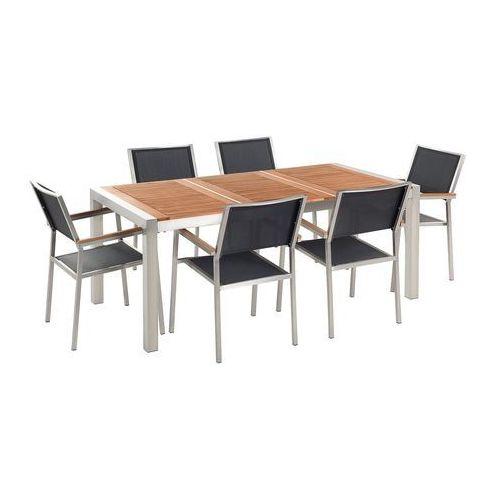 Zestaw ogrodowy mahoniowy blat 180 cm 6-osobowy czarne krzesła GROSSETO