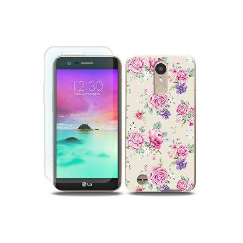 LG K10 (2017) - etui na telefon Full Body Slim Fantastic - pastelowe różyczki, kolor różowy