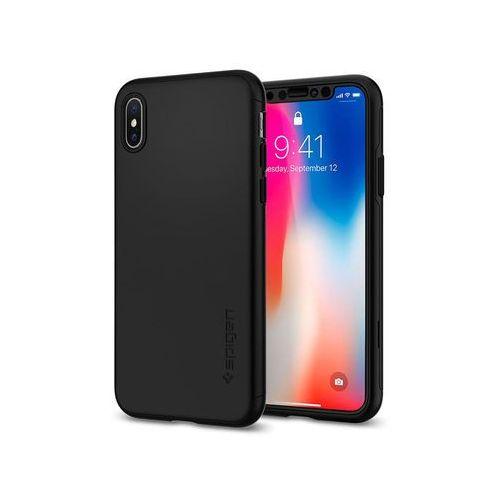 Etui Spigen Thin Fit 360 iPhone X Black 2x szkło Glas.tR Slim