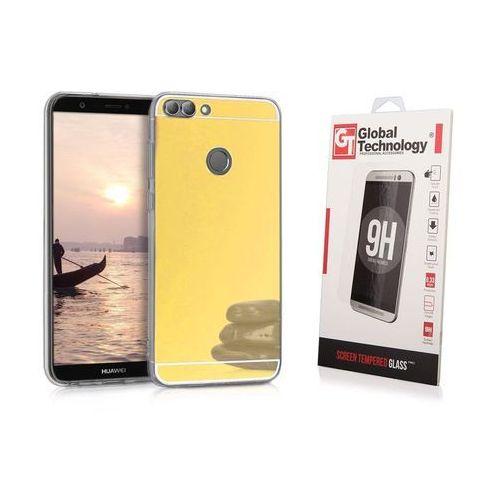 Zestaw | Slim Mirror Case Złoty | Etui + Szkło ochronne Perfect Glass dla modelu Huawei P Smart