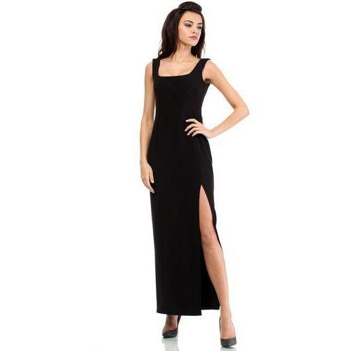 Czarna elegancka suknia wieczorowa z rozporkiem na boku, Moe, 36-42
