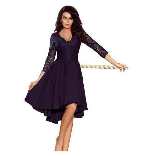 Numoco Granatowa wieczorowa asymetryczna sukienka z koronką