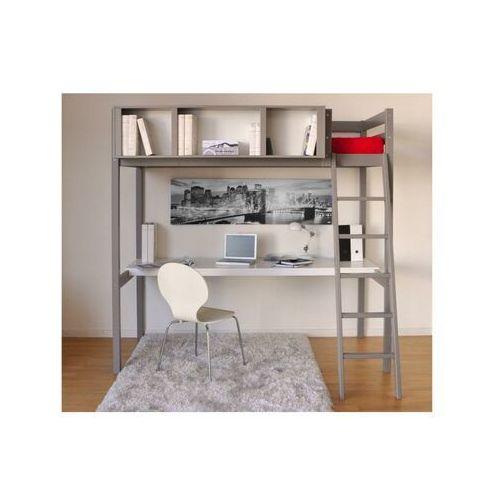 Łóżko antresola giacomo - 90 × 190 cm - z biurkiem i półkami - drewno świerkowe szary marki Vente-unique.pl