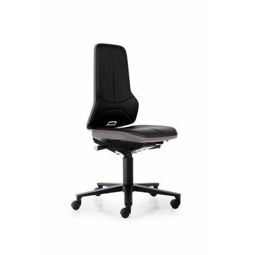 Obrotowe krzesło do pracy ze szkieletem z aluminium, na rolkach, sztuczna skóra,