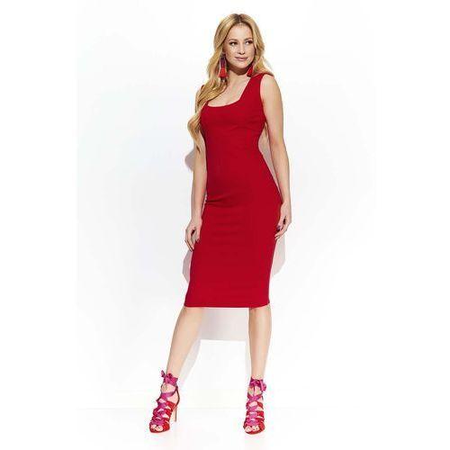 Makadamia Czerwona elegancka ołówkowa midi sukienka z przeszyciami