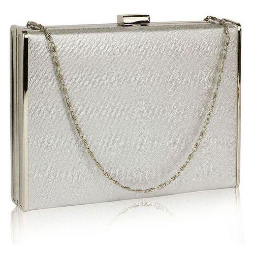 Wielka brytania Efektowna gładka torebka wizytowa kopertówka w kolorze srebra - srebrny