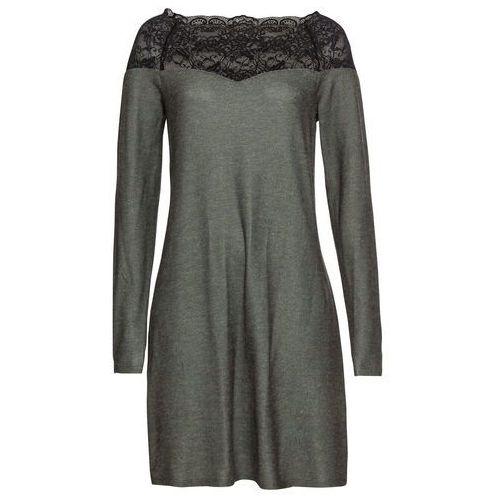 Sukienka shirtowa z koronką bonprix czarny z nadrukiem, w 4 rozmiarach
