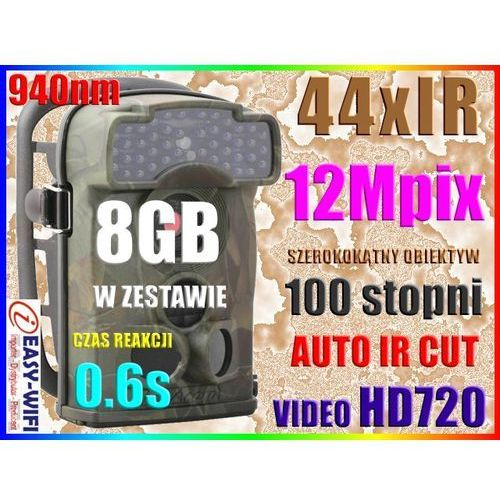 KAMERA LEŚNA FOTOPUŁAPKA HD NIEWIDOCZNE 44IR +8GB (kamera monitoringowa)