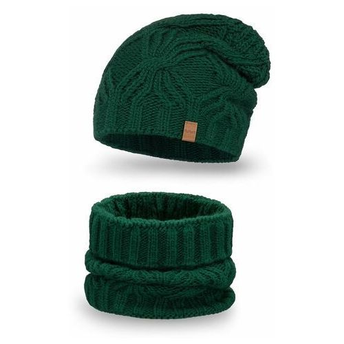 Komplet PaMaMi, czapka i komin - Butelkowa zieleń - Butelkowa zieleń (5902934076050)