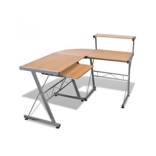 Biurko komputerowe duże z ruchomą półką na klawiaturę (Brązowe) - sprawdź w VidaXL