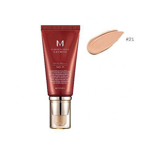 m perfect cover krem bb z wysoką ochroną uv odcień no. 21 light beige spf42/pa+++ 50 ml marki Missha