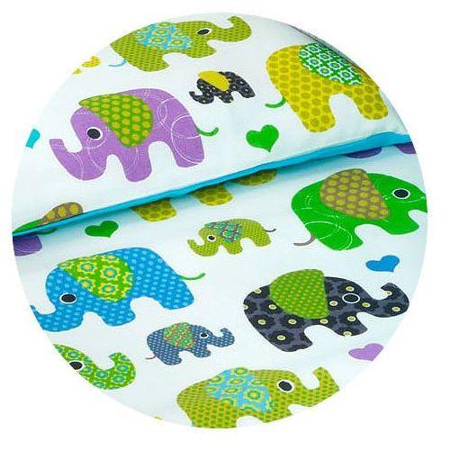 Mamo-tato dwustronna pościel 2-el słoniaki zielone / niebieski do łóżeczka 60x120cm