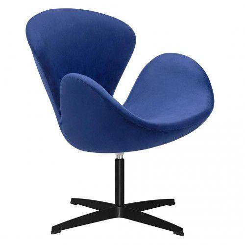 Kh Fotel swan velvet premium black ciemny niebieski - welur