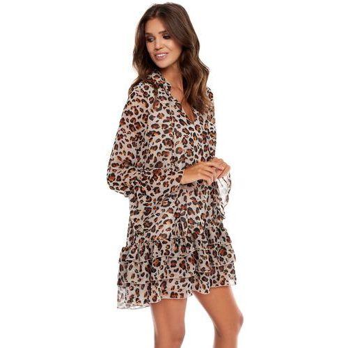 Sukienka Janell jasnoszara w panterkę, 1 rozmiar