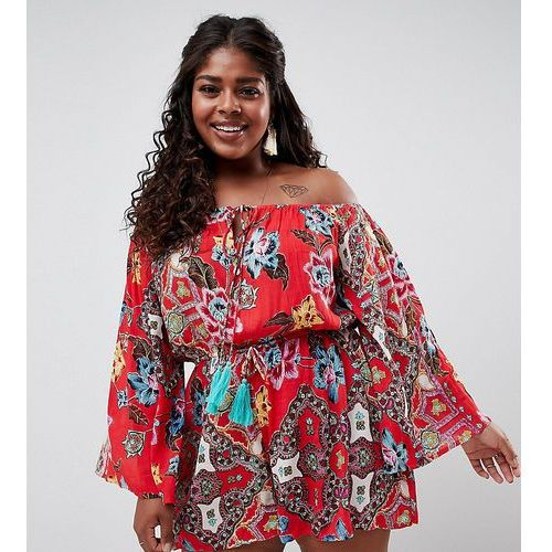 Asos curve Asos design curve folk paisley print off shoulder tassel beach playsuit - multi