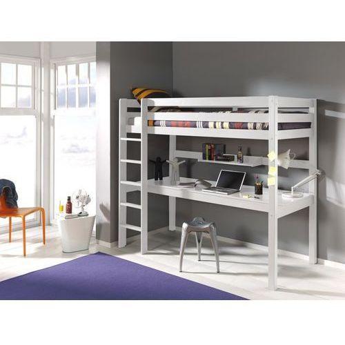 Łóżko piętrowe dla dzieci z biurkiem Pino - sosna biała - oferta [0523267df741d4c7]