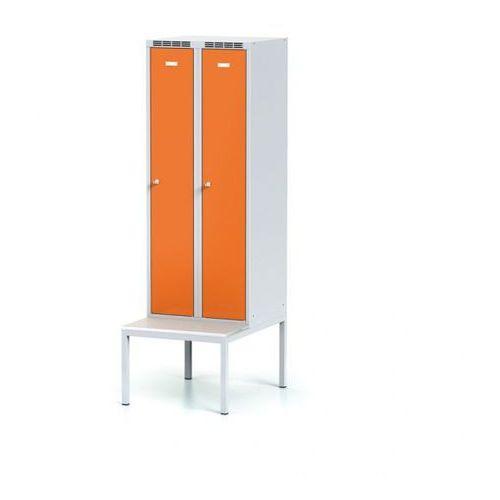 Alfa 3 Szafka ubraniowa obniżona z ławką, drzwi pomarańczowe, zamek cylindryczny