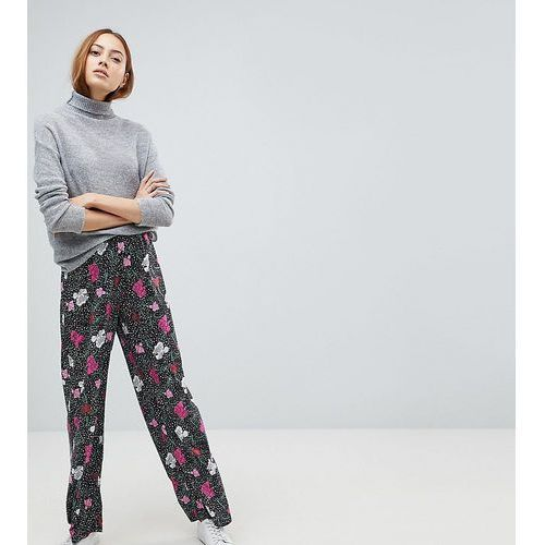 wide leg trousers in spot floral print - black marki Asos tall