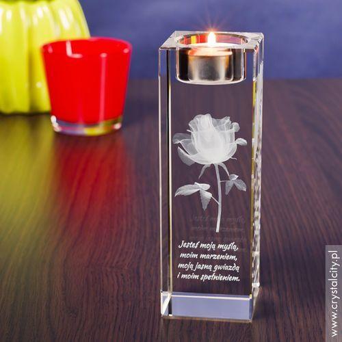 RÓŻA 3D Kwiat Miłości ♥ wysoki personalizowany świecznik • GRAWER 3D