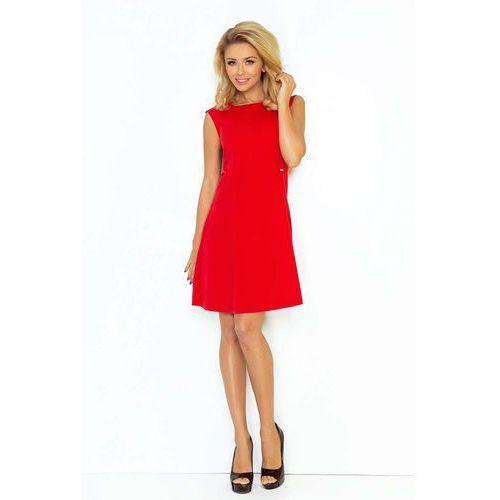 Czerwona Sukienka Trapezowa Mini bez Rękawów, w 4 rozmiarach