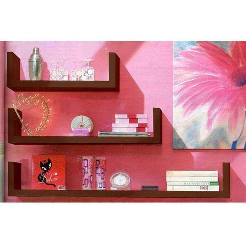 Homestyle Komplet 3 półek ściennych wenge półka wisząca - wenge