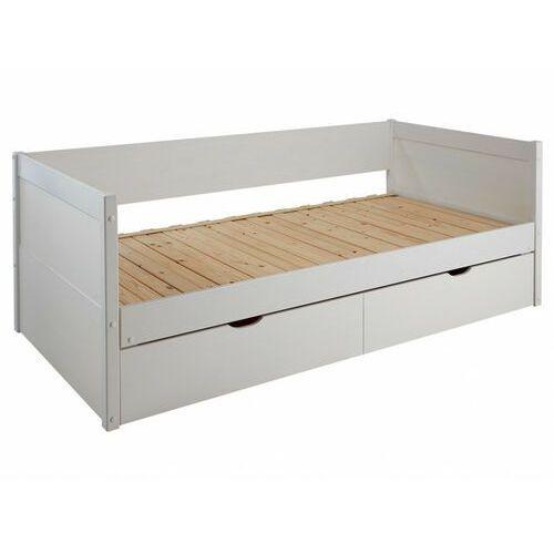 Vente-unique Kanapa z wysuwanym łóżkiem alfiero z szufladami - 2 × 90 × 190 cm - lakierowane na biało