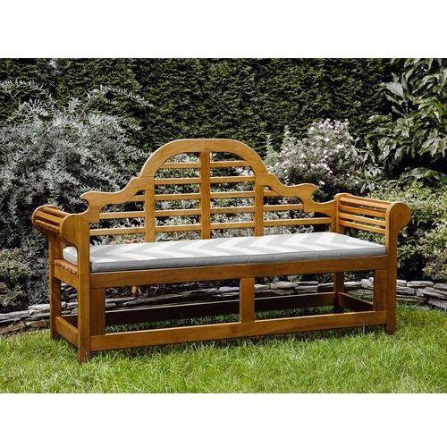 Ławka ogrodowa drewniana 180 cm poducha w szaro-beżowe zygzaki java marlboro marki Beliani