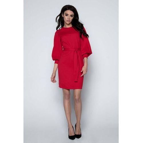 96bac86556 Czerwona Sukienka z Bufiastym Rękawem 3 4